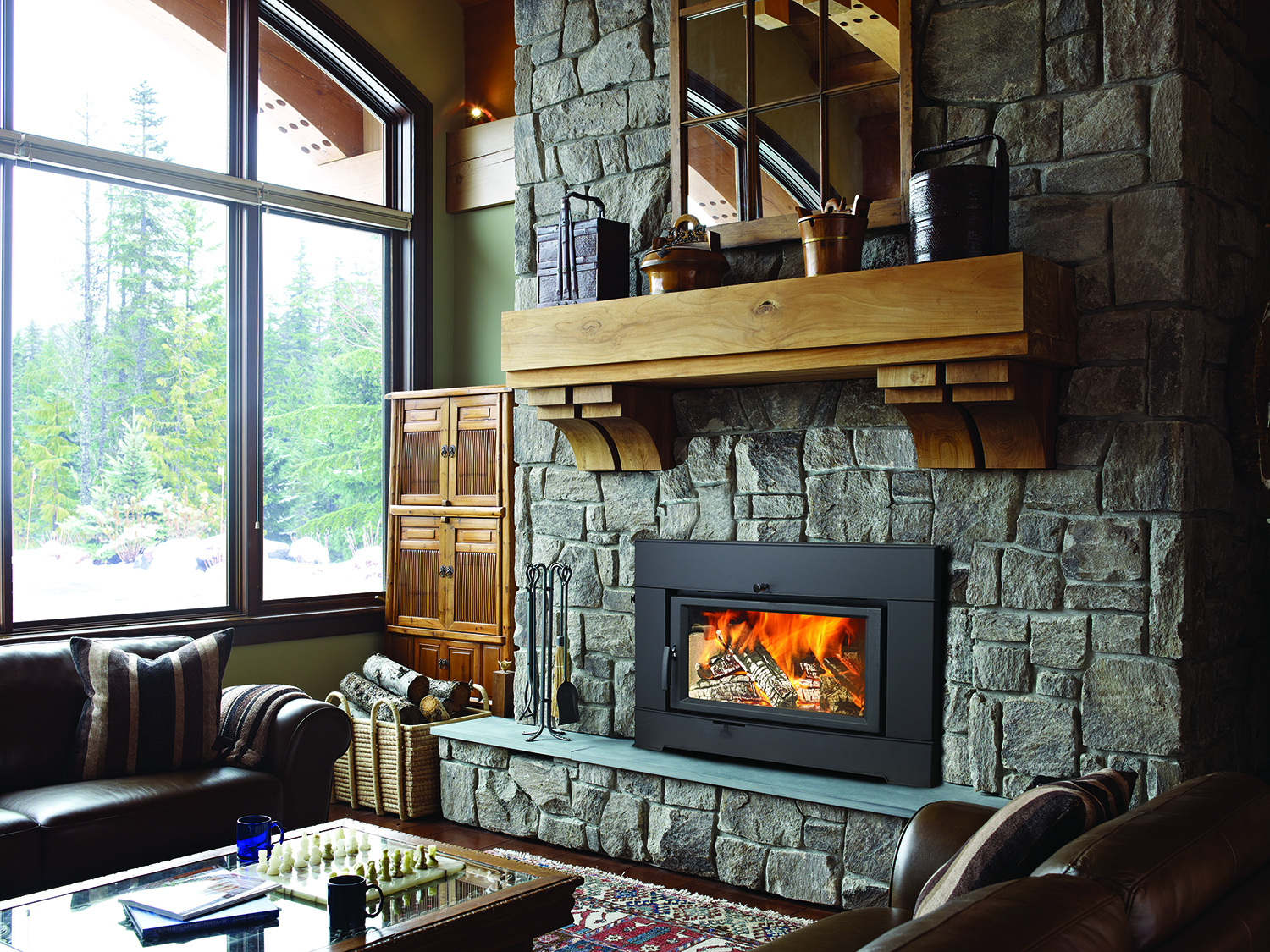 Fireplace in rustic room